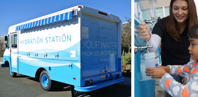 Filling up on water at Santa Rosa's Mobile Hydration Station