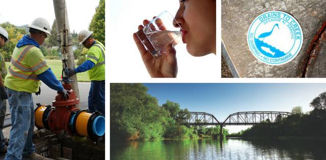 Photos of valve replacement, woman drinking clean water, drains to creek and the Russian River