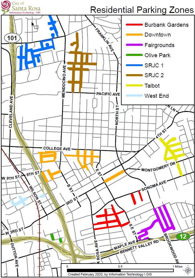 Image of map of Santa Rosa Neighborhoods with colored sections outlining parking areas