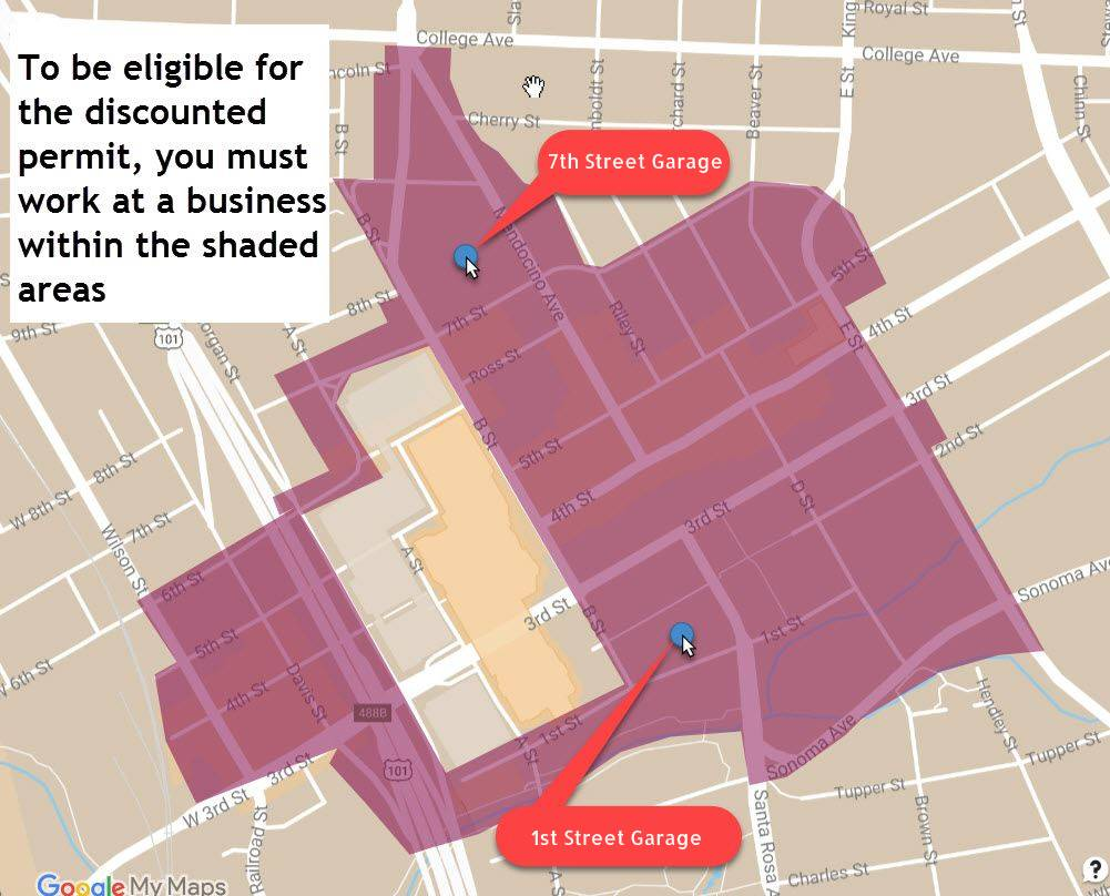 Low Wage Employee Parking Program Eligibility Map