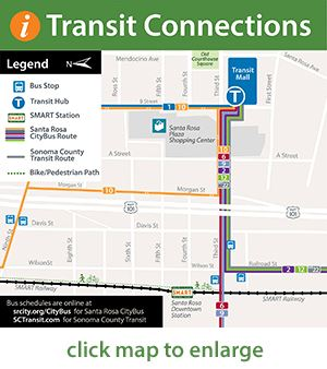 map of transit connections to Downtown SMART station