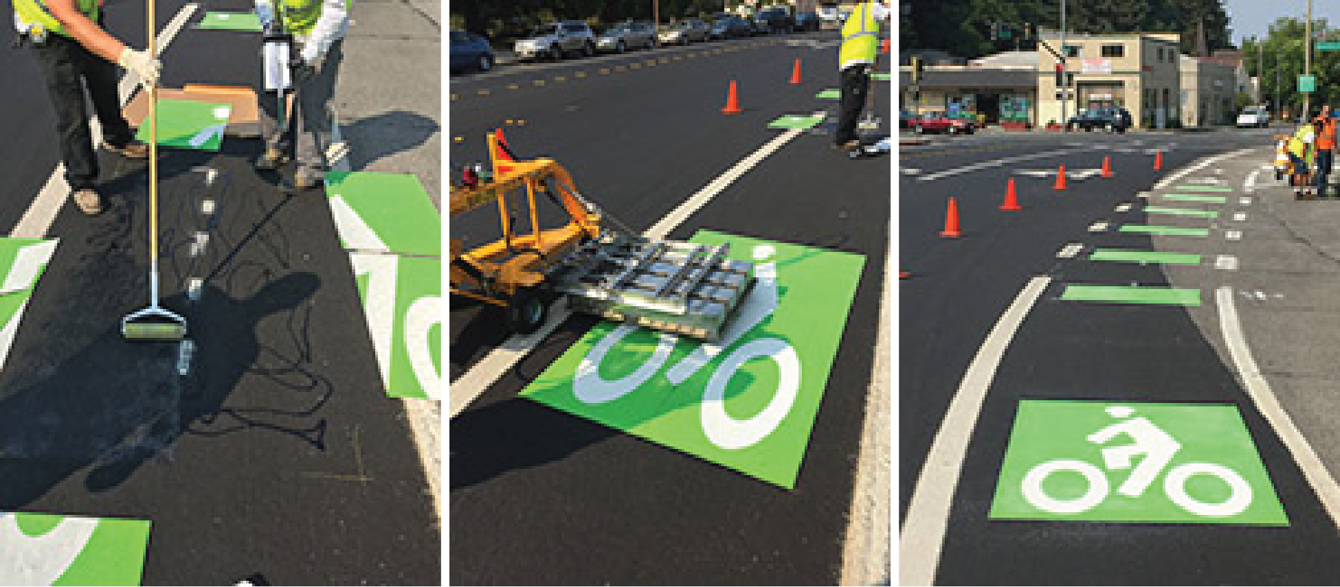 Green Bike Lane Installation