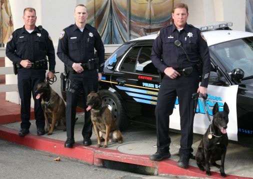 Canine Team officers and dogs standing with patrol car