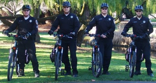 Downtown Enforcement Team bike officers standing with their bikes in a park