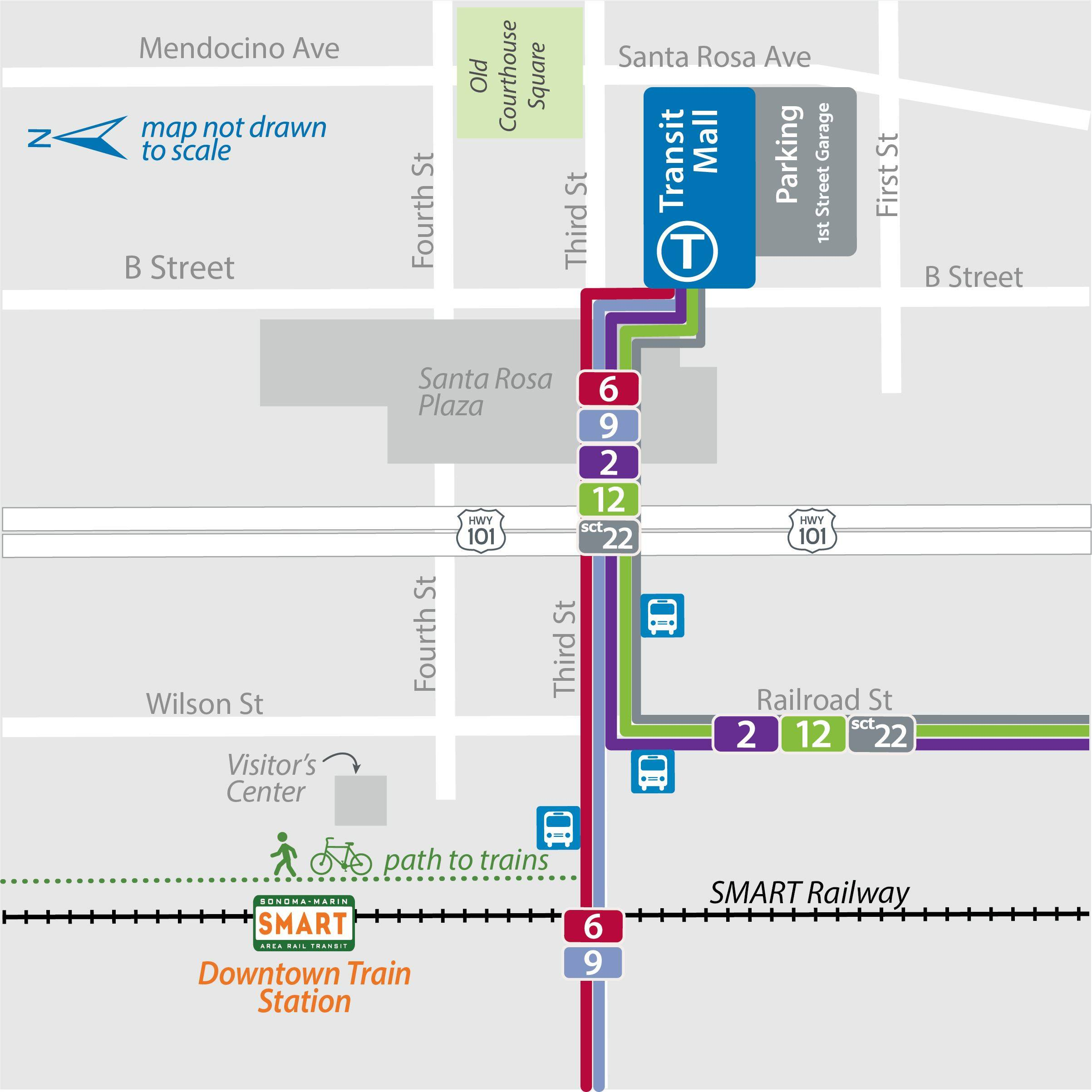 Map of CityBus Routes to DT SMART