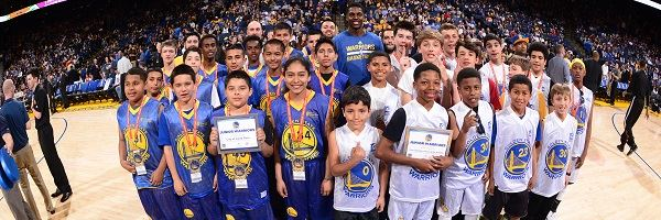 Group Photo of Junior Warriors on Basketball Court of Golden State Warriors