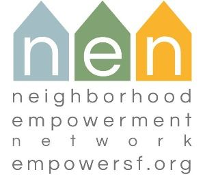 blue green yellow houses with neighborhood empowerment network text below