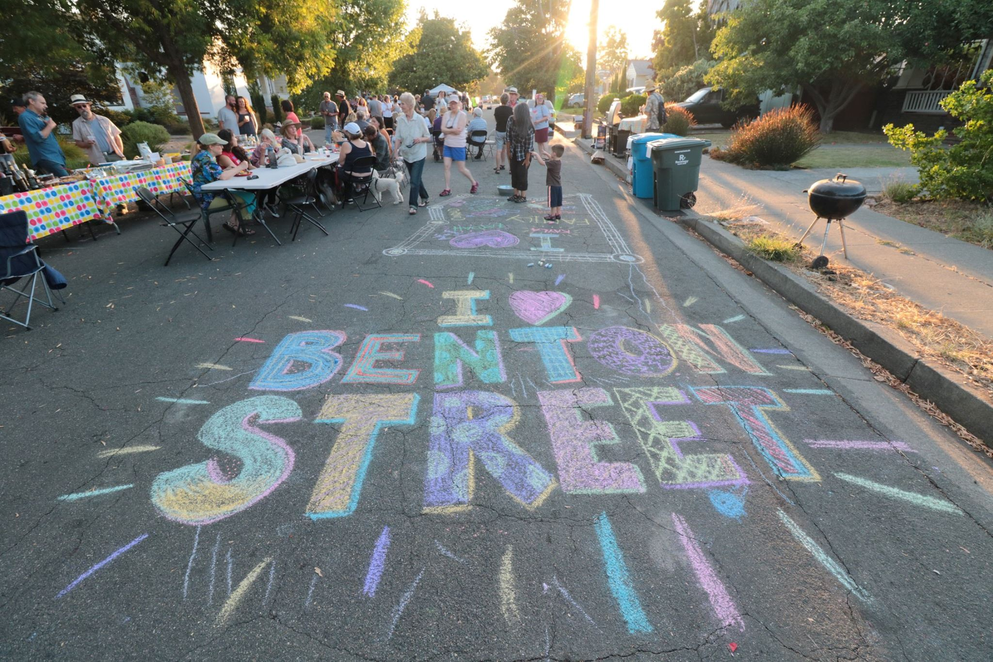chalk drawing on street that says I love Benton Street
