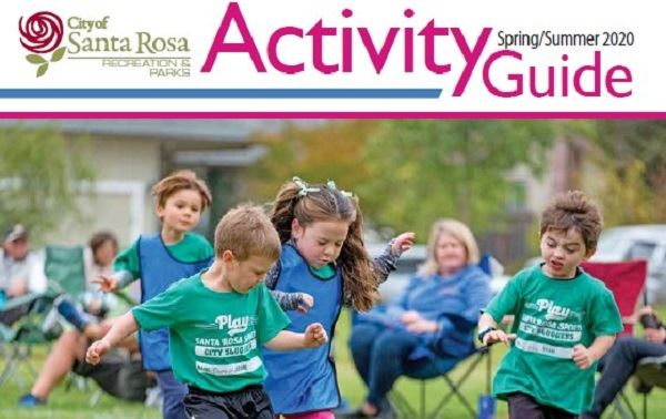 Spring/Summer 2020 Activity Guide Cover; Kids Playing Soccer