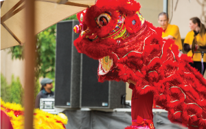 Chinese dragon dance at public event