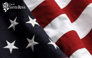 City of Santa Rosa logo on American Flag background