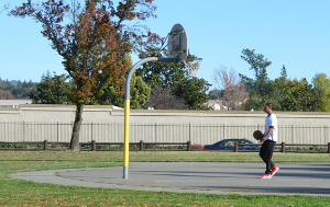 Man Playing Basketball on Outdoor Park Court