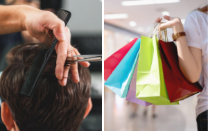 Man getting haircut and woman holding bags in mall