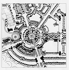 Black and white image of a city and garden design