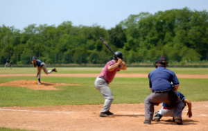 Men playing softball