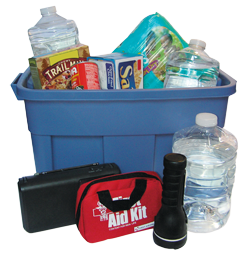 Food and water that should be included in an emergency kit.