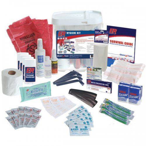 Health and hygiene supplies that should be included in an emergency kit.