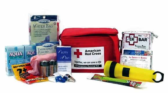 Household supplies and equipment that should be included in an emergency kit.