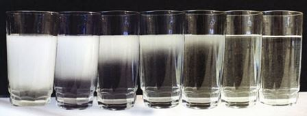 Glasses of water in a row.