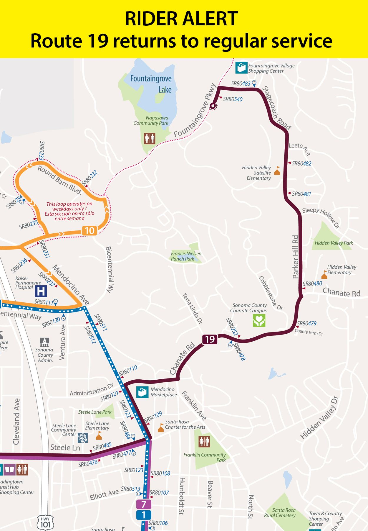 Map showing temporary detours for route 19