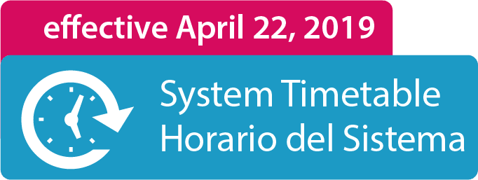 Timetable Effective on April 22, 2019