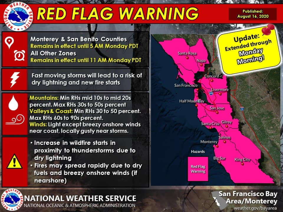 Red Flag Warning Extended for August 16