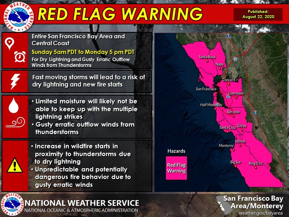 Red Flag Warning for 8/23 - 8/24